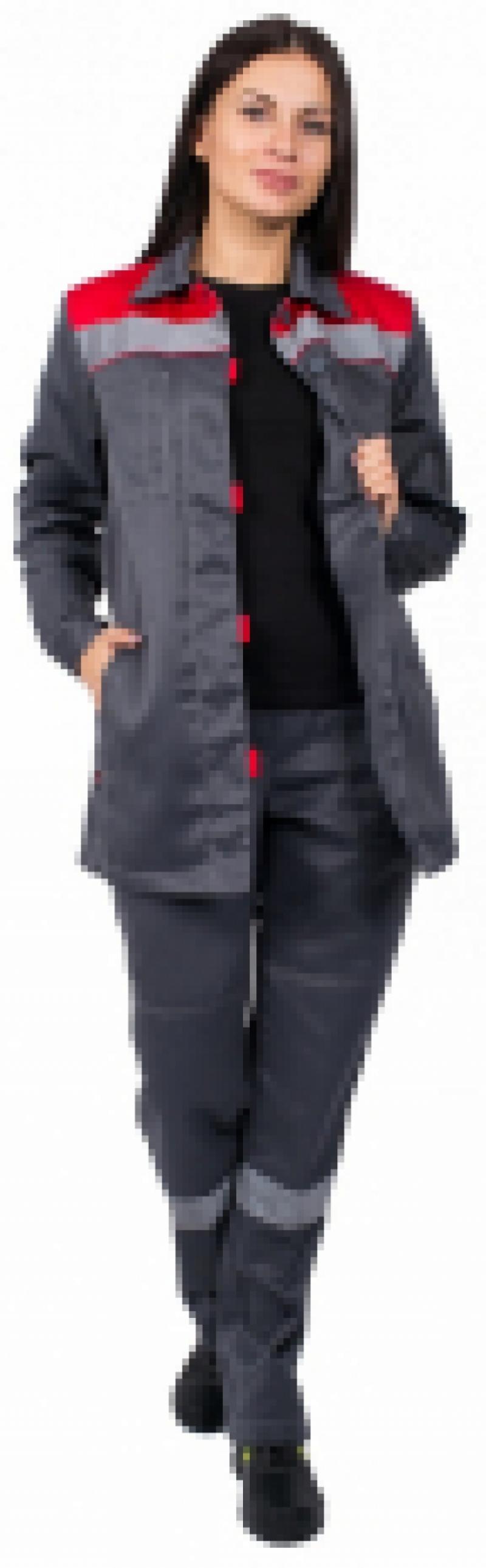 Костюм женский Весна-1 СОП NEW (тк.Смесовая,210) брюки, cерый с красным.
