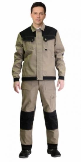 """Костюм """"ВЕСТ-ВОРК"""" куртка кор., +брюки,цвет бежевый с черным"""