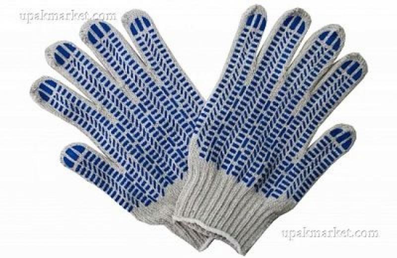 Перчатки ХБ 5-ти нит. с ПВХ Протектор (250пар) белые/серые