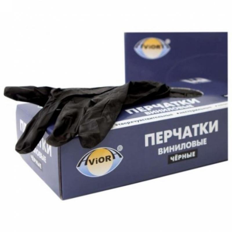 Перчатки винил.неопудр. LINGER XL /10х100шт/ (10) черные